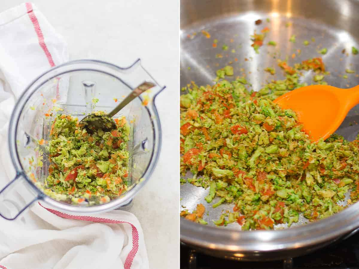 finely chopped vegetables in a blender on the left and cooked veggies in a pan on the right