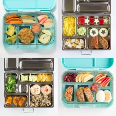 four lunchboxes with baked goods as the main component