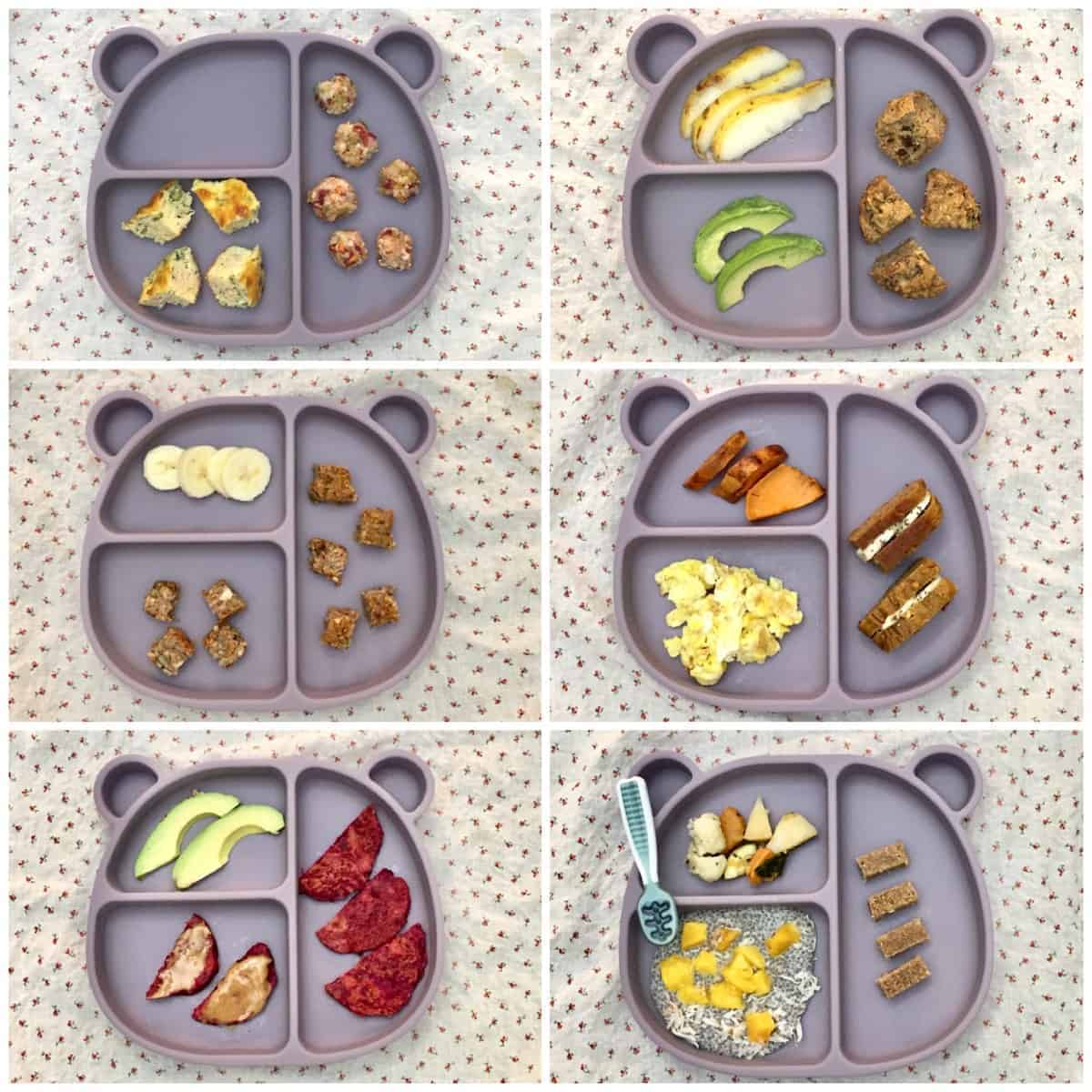 six examples of 10 month old baby breakfasts served on a blue bear-shaped plate