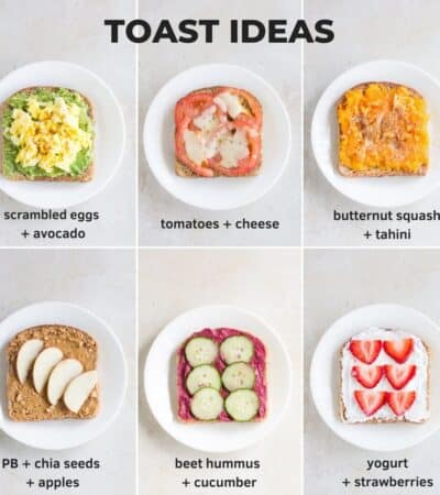 six easy toasts each plated on a white platee