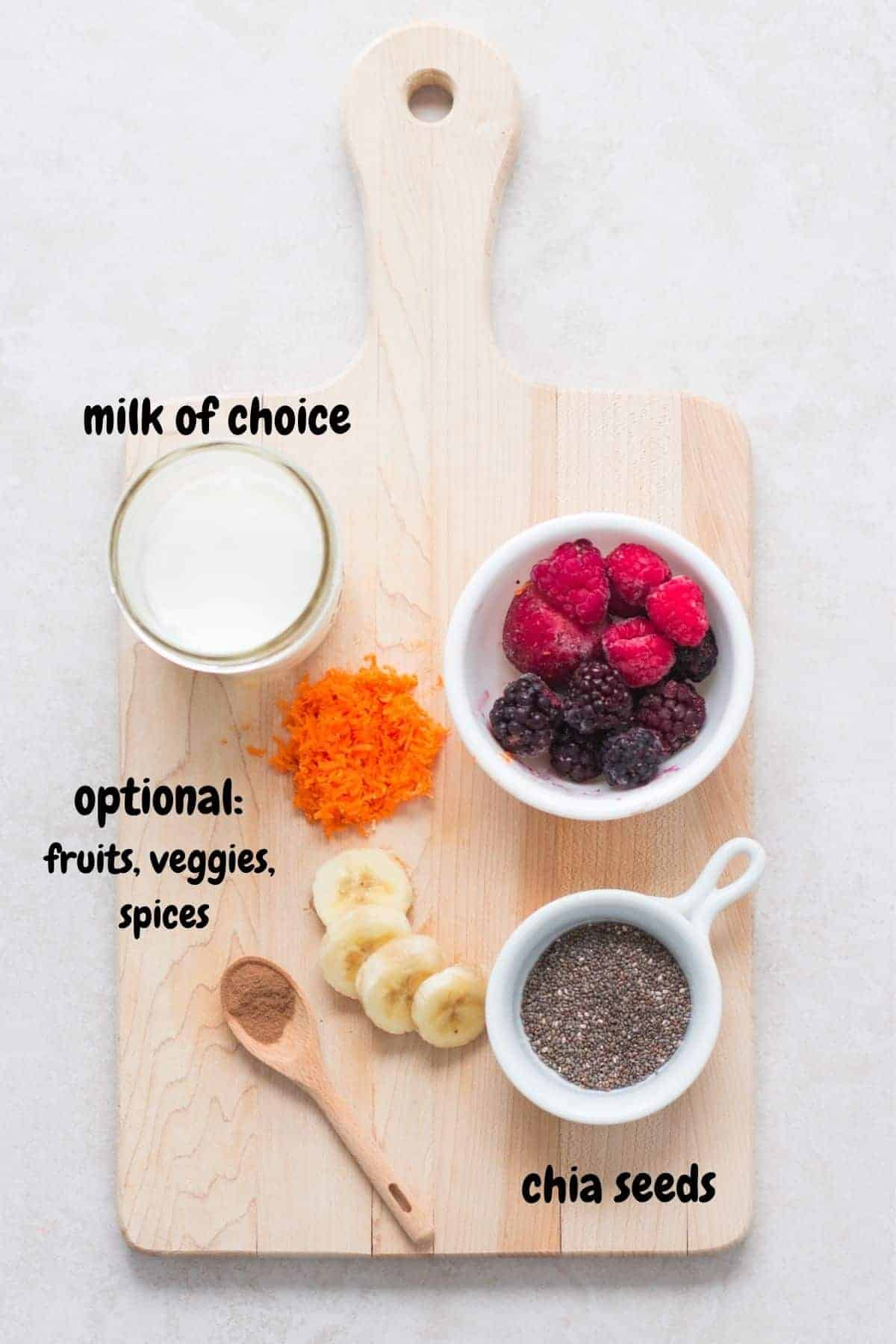ingredients for the basic recipe on a wooden board