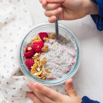 raspberry tahini flavor in a glass bowl
