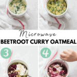 A collage showing how to make the oatmeal in 4 steps