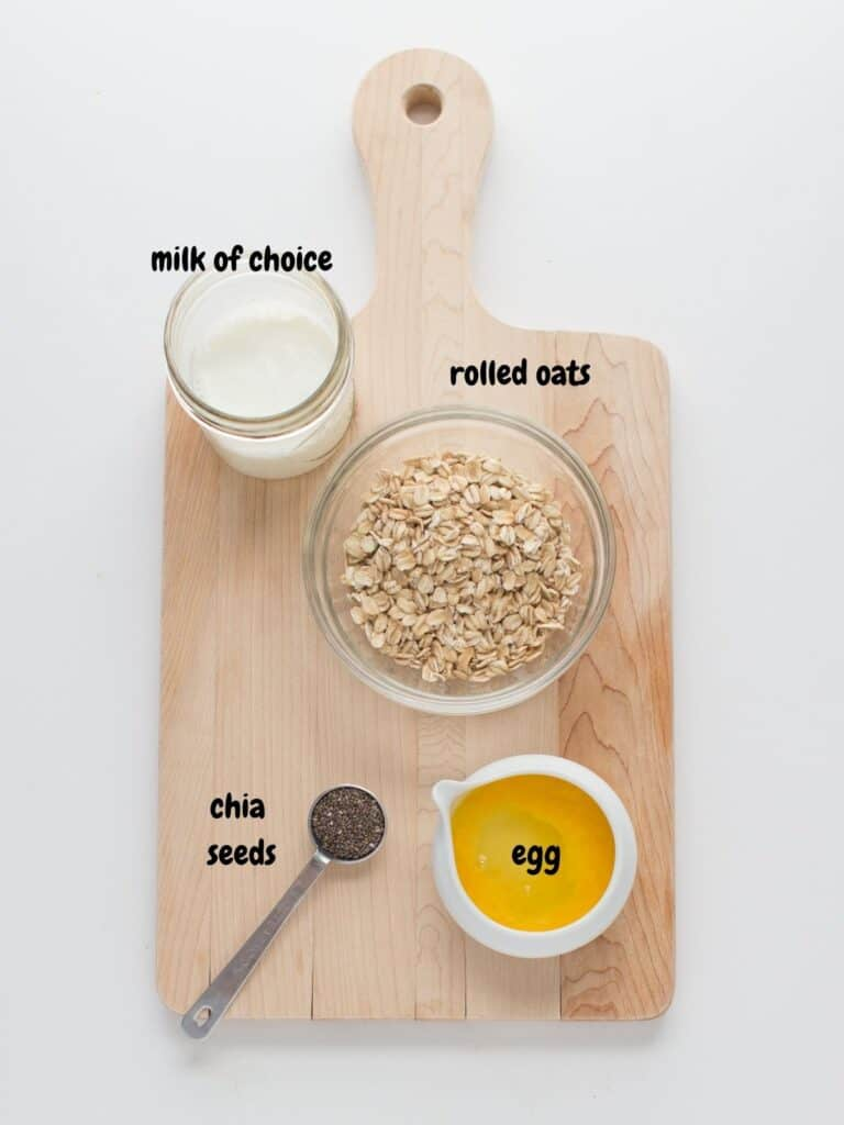 all the ingredients placed on a wooden board