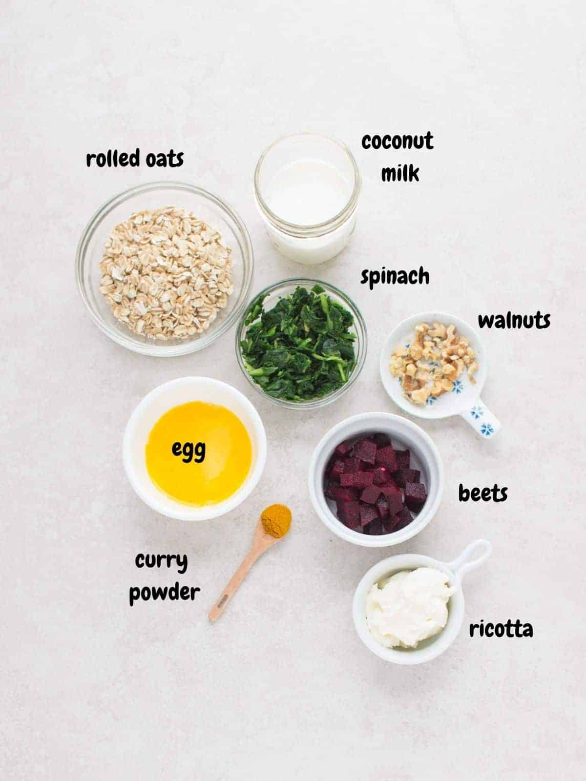 all the ingredients placed on top of a white background