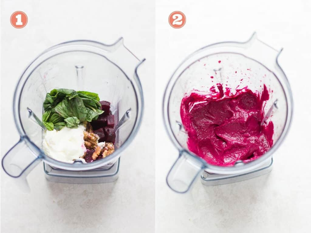 all the ingredients for the pesto in a blender on the left side of collage and everything blended on the right side of collage