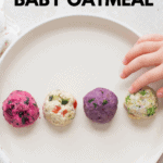 four oatmeals shaped into balls and plated on a white plate