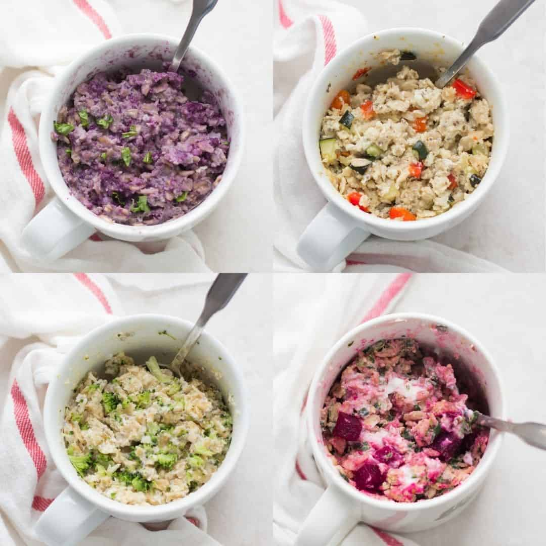 collage of all four vegetable oatmeals