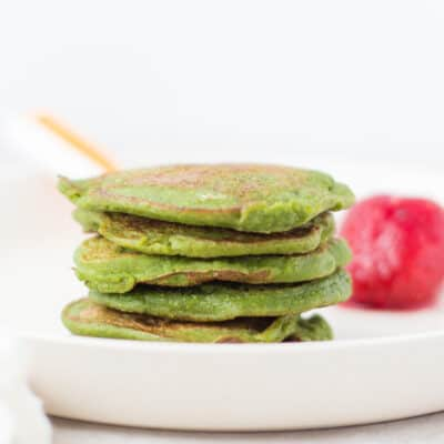 stacked spinach baby pancakes