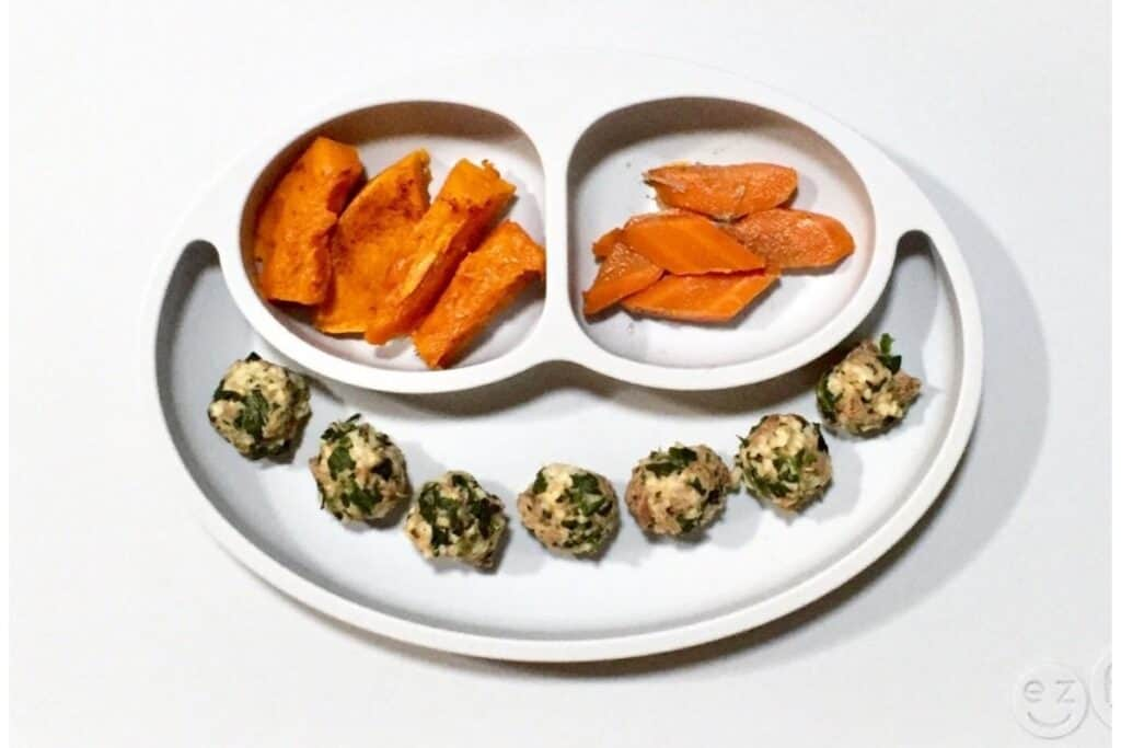 roasted sweet potatoes and carrots and oatballs with spinach