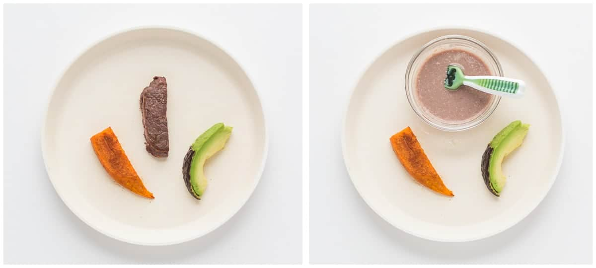 on the left beef strip with sweet potato and avocado and on the right beef puree