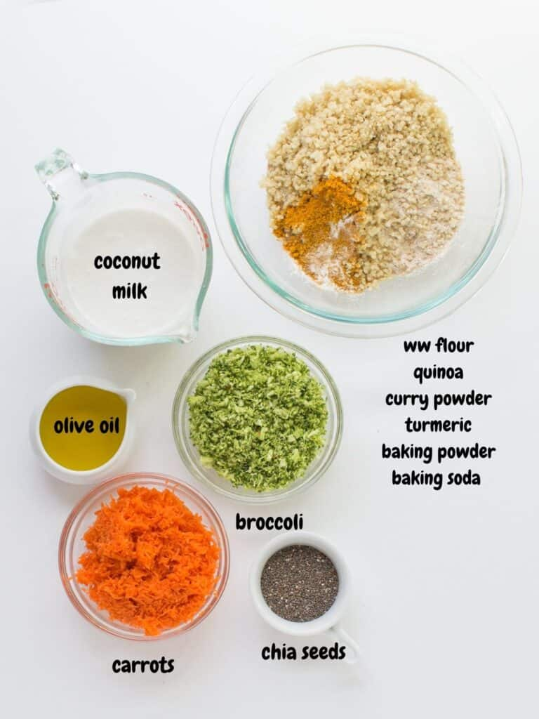 all the ingredients placed on white background