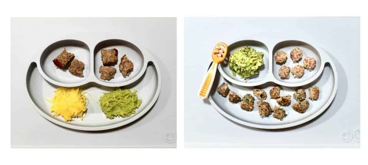 spaghetti squash with pesto and meatballs cut into bite sized pieces on the left and mashed avocado oatballs and bite sized meatballs on the right