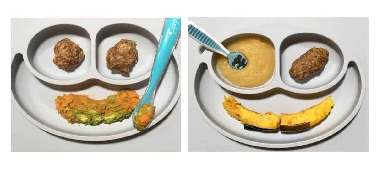 sweet potato and avocado mash with meatballs on left and acorn squash, appleasauce, and meatballs on the right