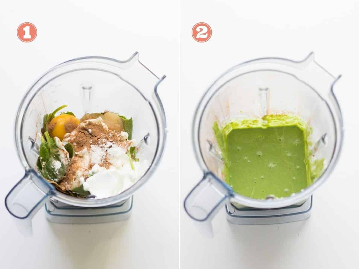 a collage showing all the ingredients in a blender on the left and blended on the right