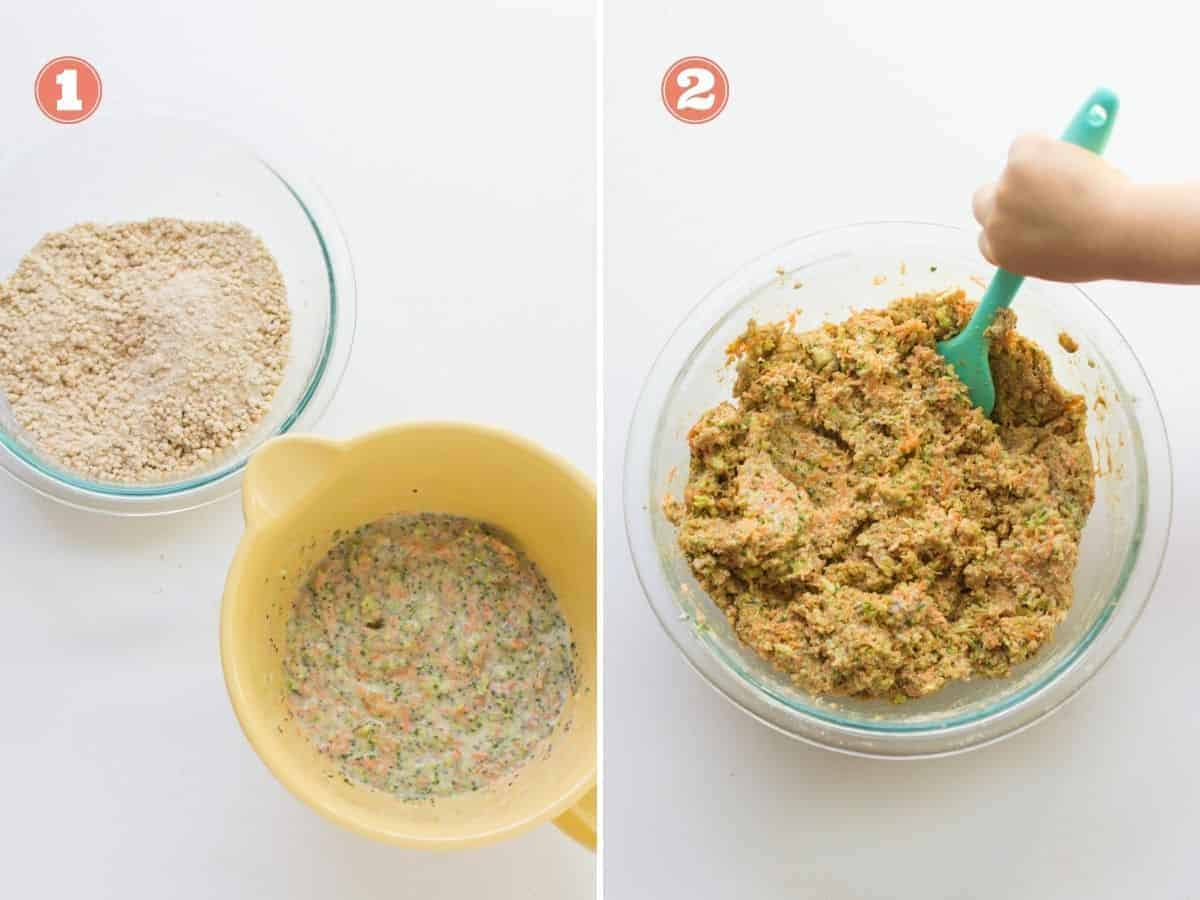 collage showing the wet and dry ingredients on the left and both combined on the right