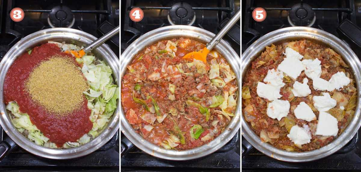 three side by side collage showing cooking steps 3-5