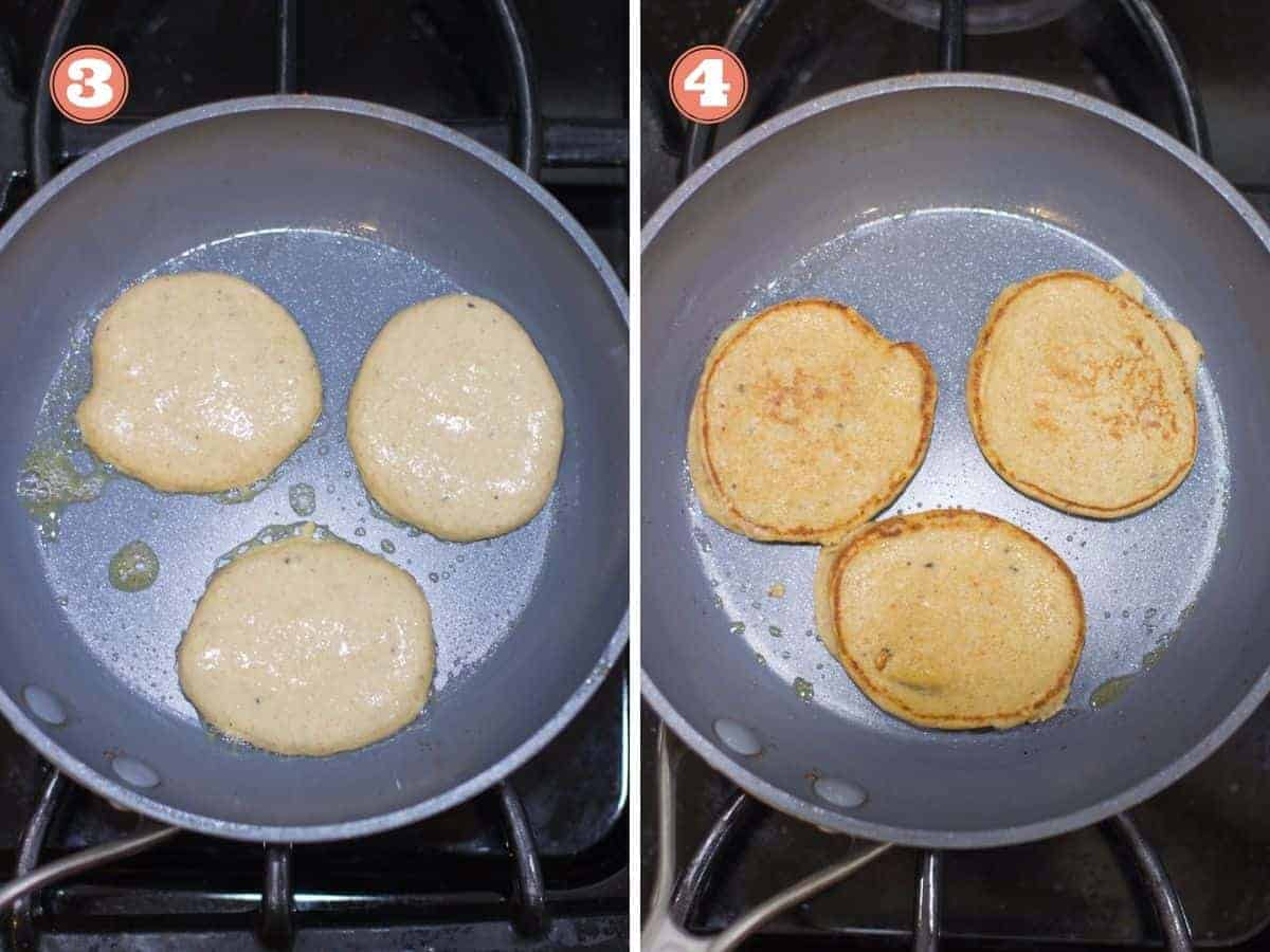 a two image collage with three pancakes cooking in a pan on the left and cooked on the right