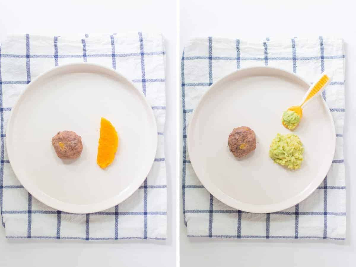 a side by side collage with meatball and butternut squash on the left and meatball with mashed avocado and lentils on the right