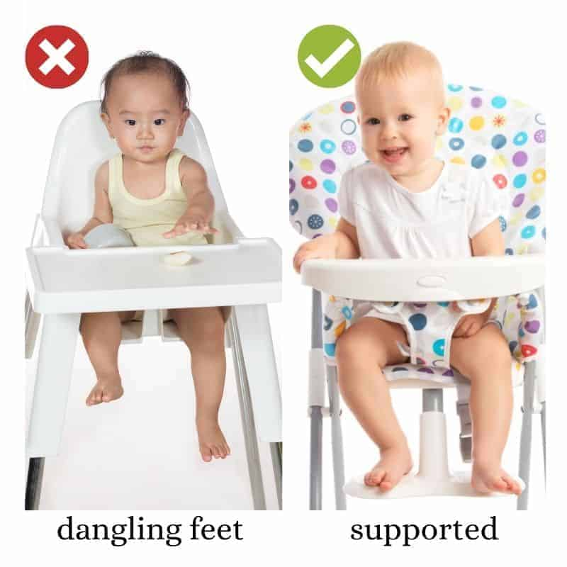 a two image collage with baby in high chair with dangling feet on the left and baby in a high chair with feet supported