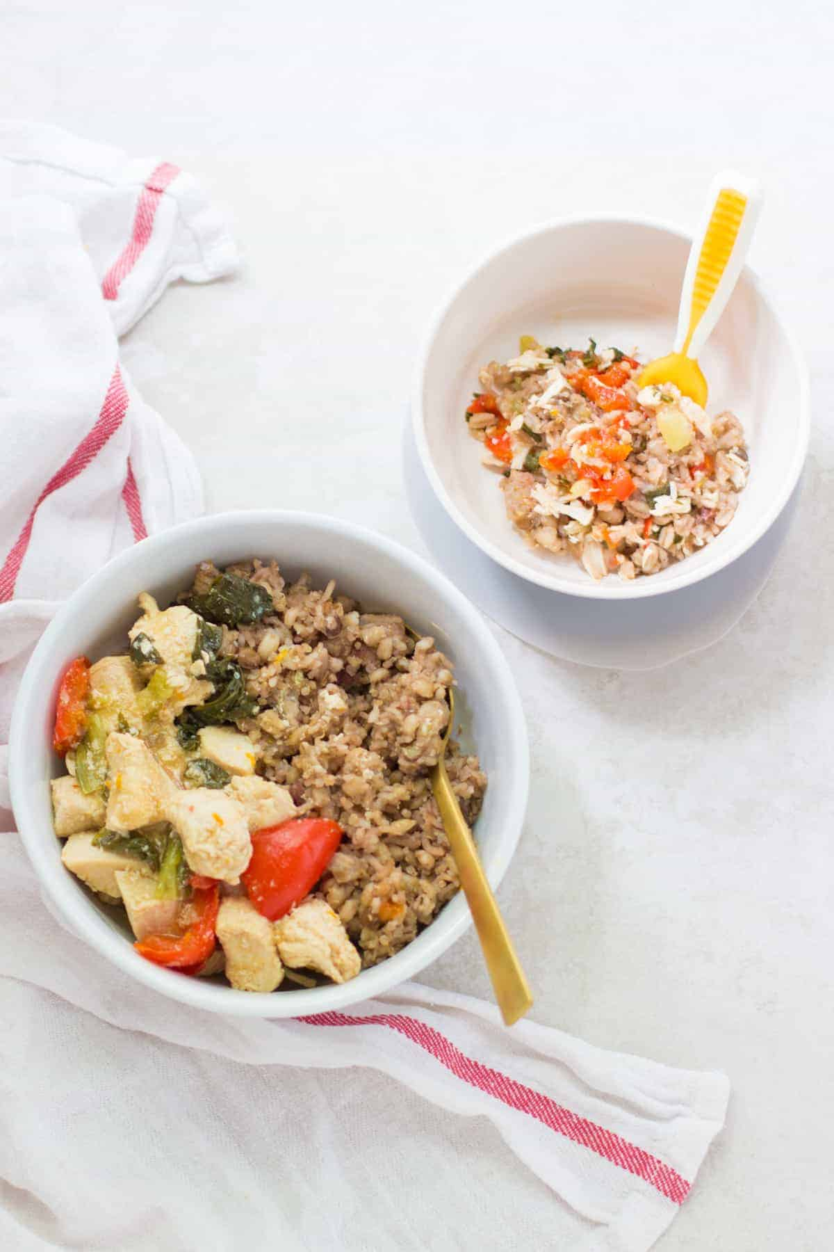 orange sesame chicken served with rice for adult and a baby's bowl with everything chopped and combined with rice