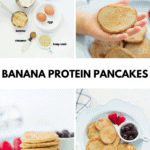 all the ingredients on the top left, pancake on a child's hand on top right, stacked pancakes on the bottom left and pancakes spread out on a blue plate with berries on the right