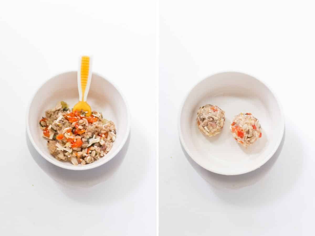 two image collage showing how to serve this chicken recipe to babies. On the left mixed in with rice and on the right shaped into balls