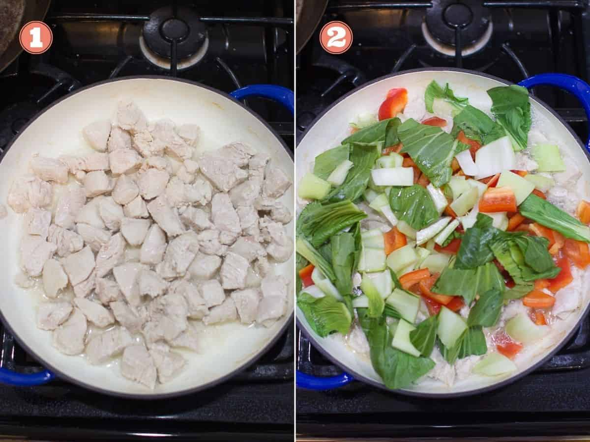 two image collage with cooked chicken on the left and vegetables added to the skillet on the right