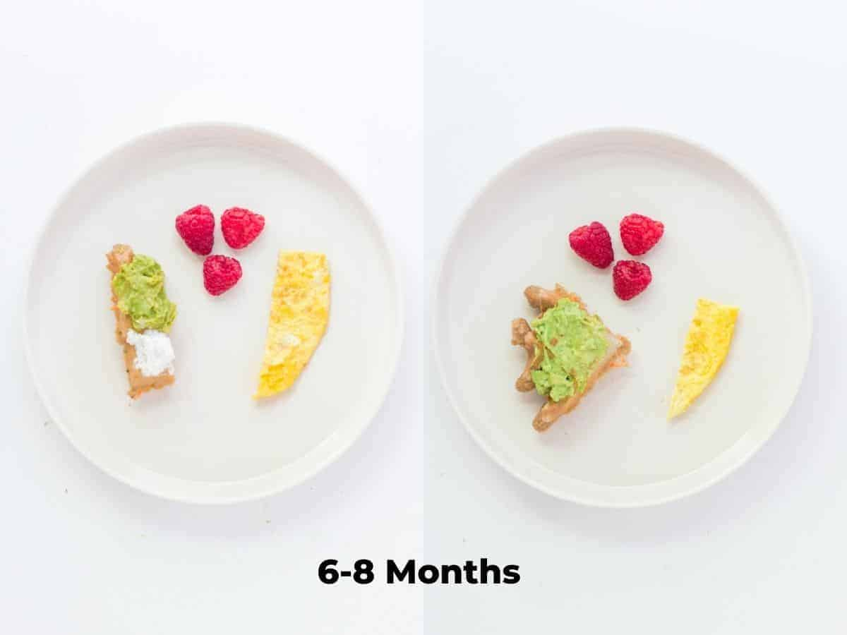 a two image collage showing how to serve the waffles to babies 6-8 months old. waffle sliced into a strip on the left with raspberries and egg strip on the left and quartered waffle on the right