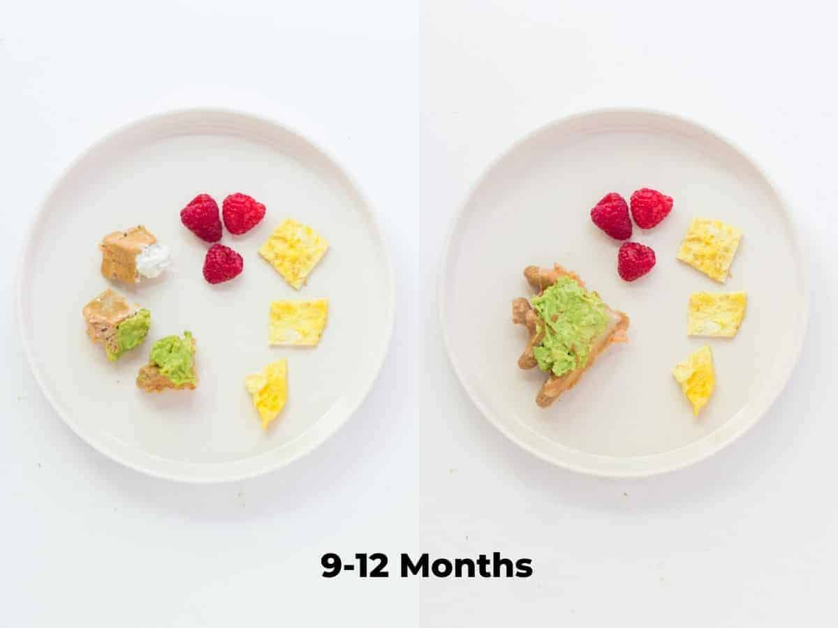 a two image collage showing how to serve the waffles to 9-12 month baby. Waffles cut into bite sized pieces with eggs and raspberries on the left and a quartered waffle on the right