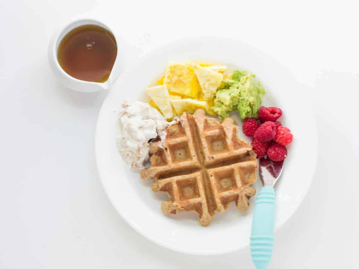 a toddler plate with waffle and yogurt, egg strips, mashed avocado, raspberries, and maple syrup on the side