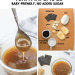 a collage with teriyaki sauce dripping from a spoon, ingredients laid out on a wooden board, and a close up shot in a glass bowl