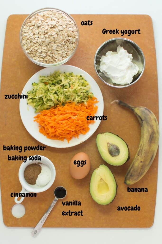 all the ingredients laid out on a wooden board