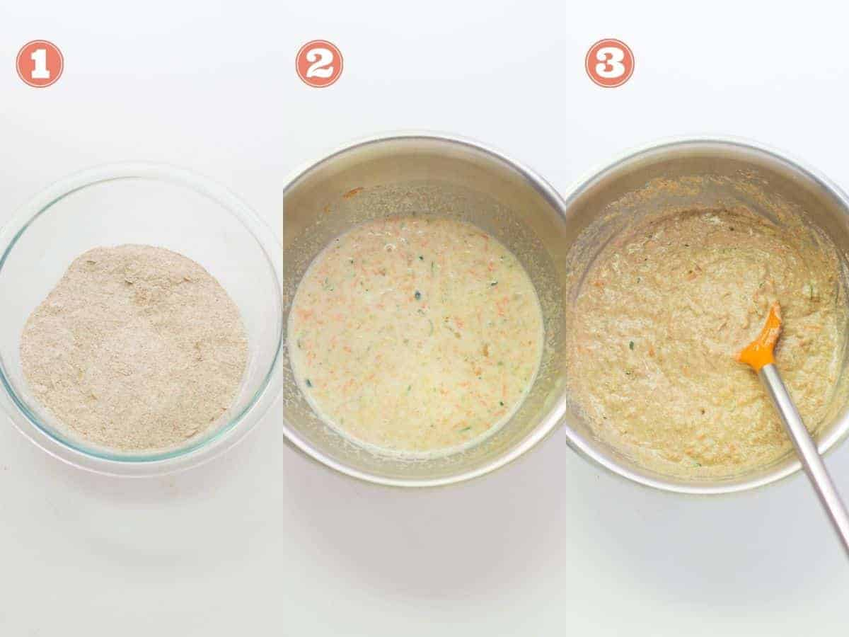 a three image collage with all the dry ingredients combined on the left, wet ingredients in the middle, and everything mixed together on the right