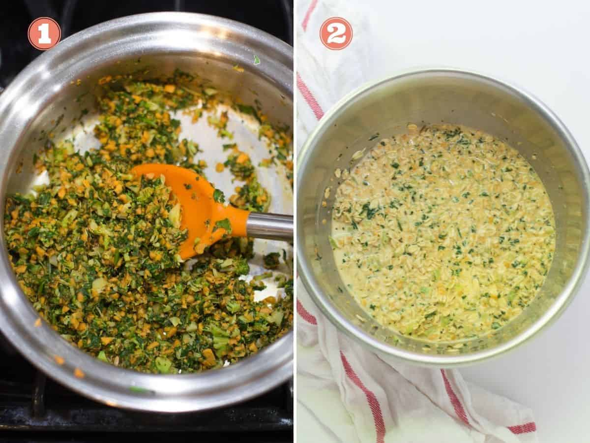 a two image collage with the vegetables cooked in a pan on the left and all the ingredients added in a large bowl on the right