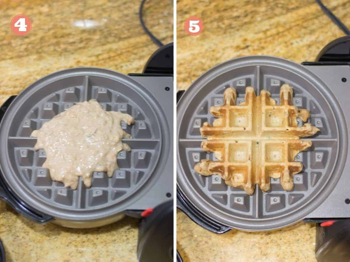 batter poured into a waffle maker on the left and what it looks like cooked on the right