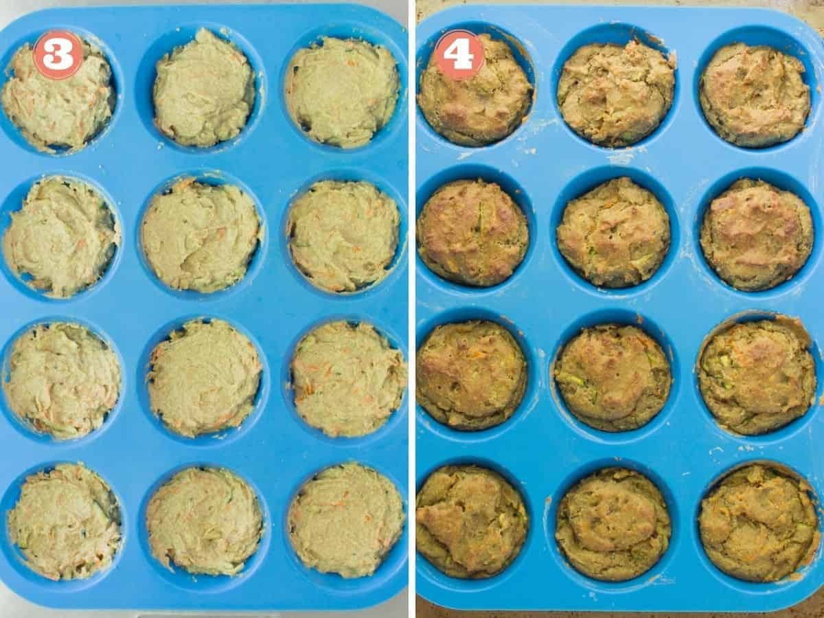 a two image collage with batter transferred to a blue silicone muffin pan on the left and on the right cooked muffins in the pan