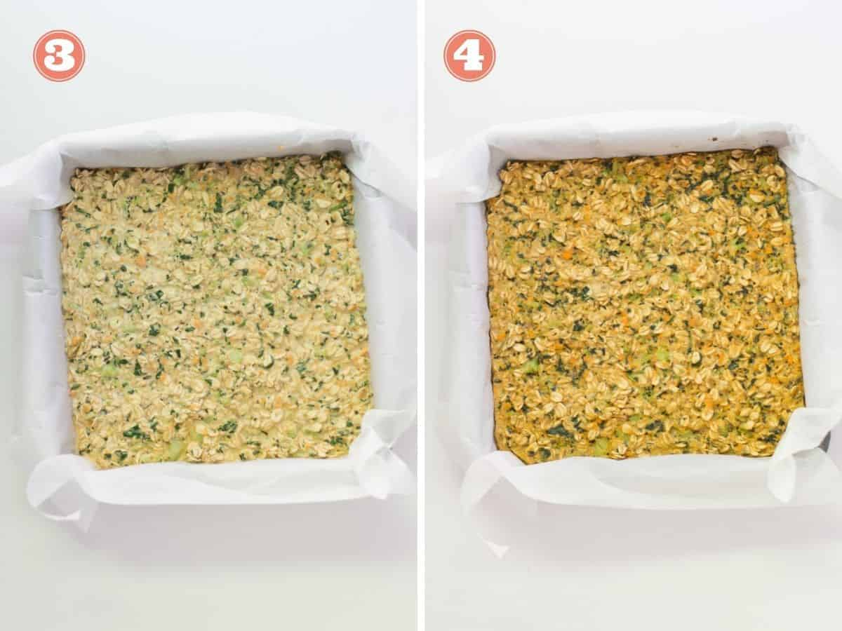 a two image collage with unbaked oatmeal in a square pan on the left and baked on the right