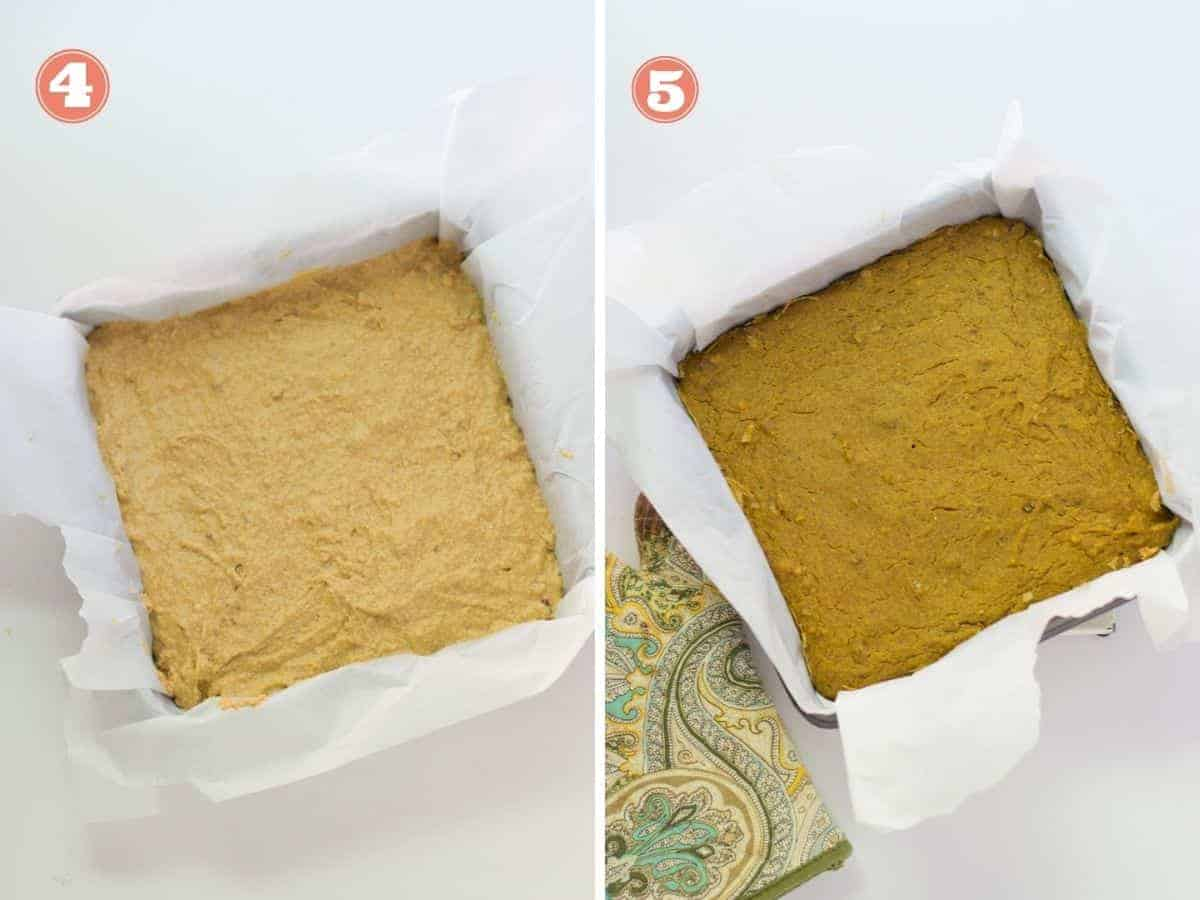 a two image collage with left one showing the batter in pan prior to baking and what it looks like after it's baked on the right