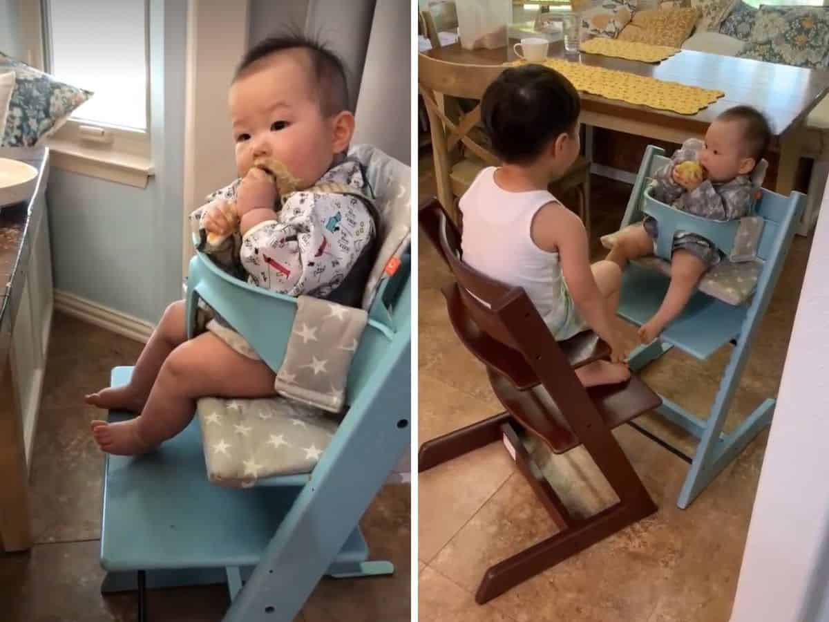 a two image collage with baby sitting on blue stokke high chair on left and preschooler and baby each sitting on their high chairs