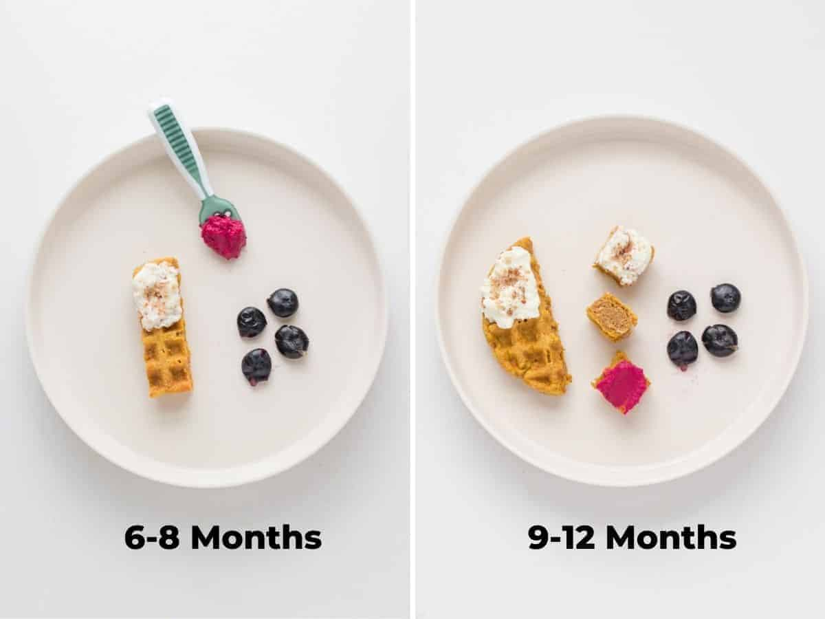 a strip of waffle with ricotta spread on the tip, beet dip on spoon, and four smashed blueberries on the left. A large piece of waffle with ricotta spread on tip, three bite sized pieces of waffle with four smashed blueberries on the right