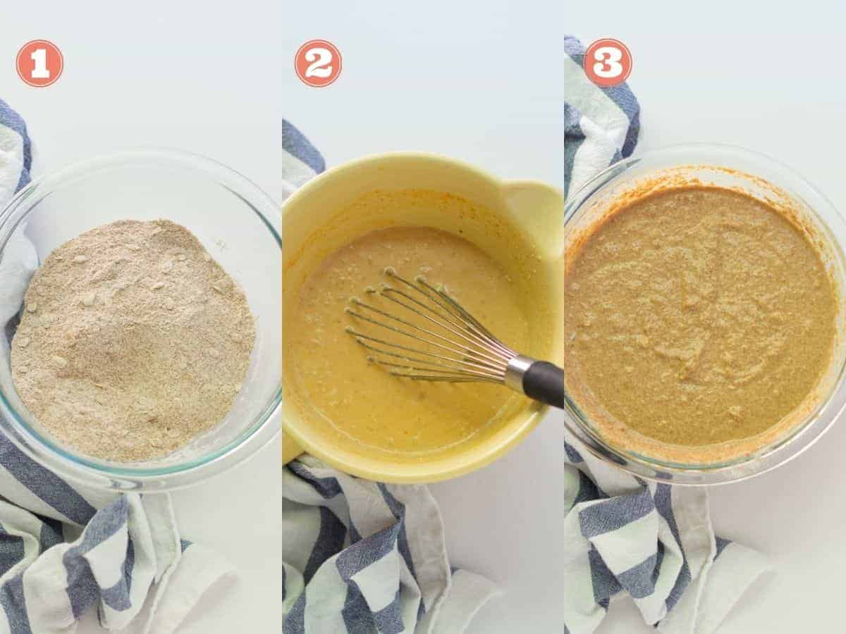 a three image collage with dry ingredients in a bowl on left, wet ingredients in the middle, and dry and wet ingredients combined on the right