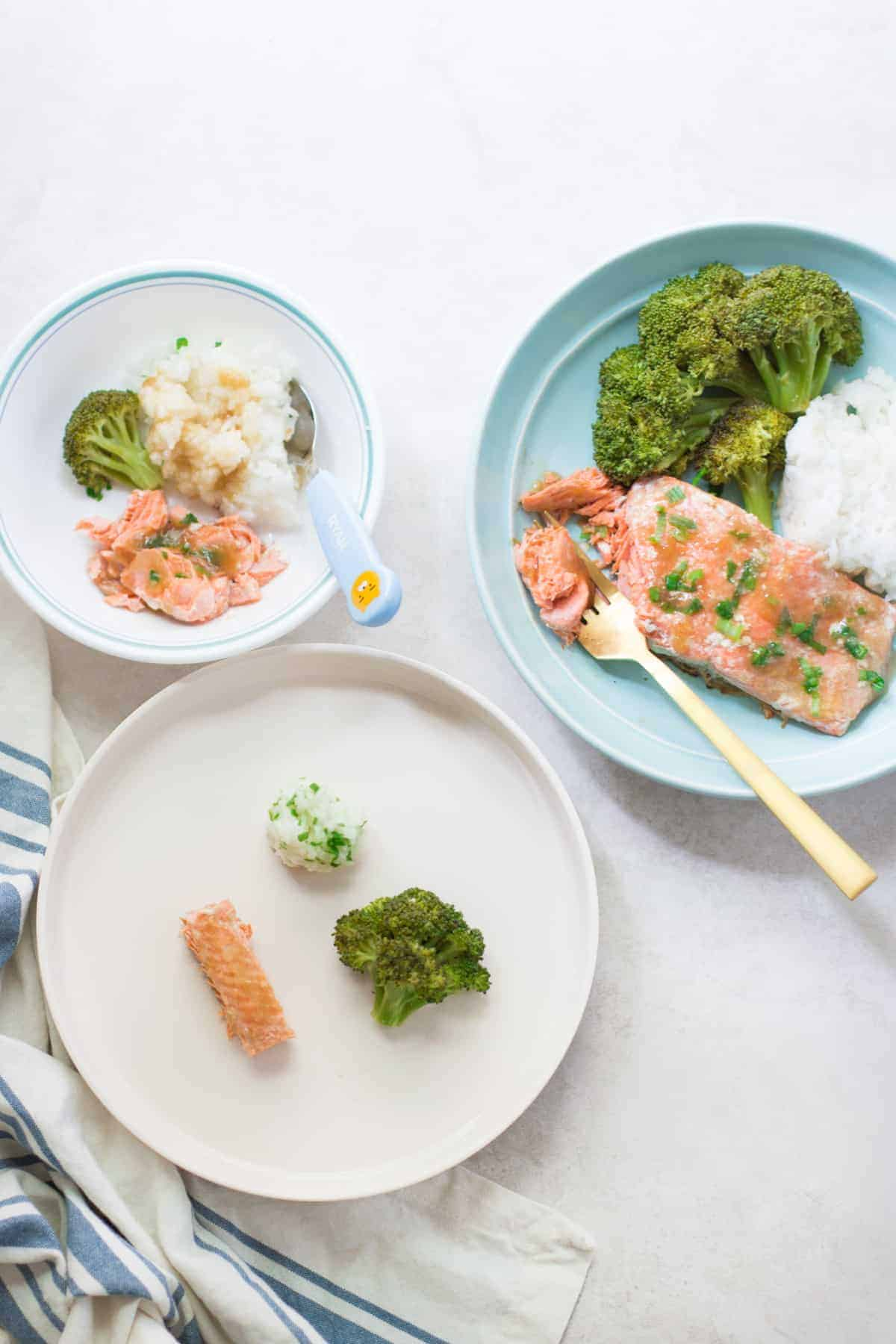 cooked salmon with rice and broccoli served three ways, for baby, toddler, and adult