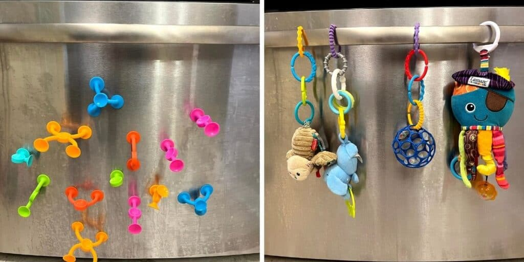 sticky toys on refrigerator on the left picture and various toys with rings attached to the refrigerator handle on the right
