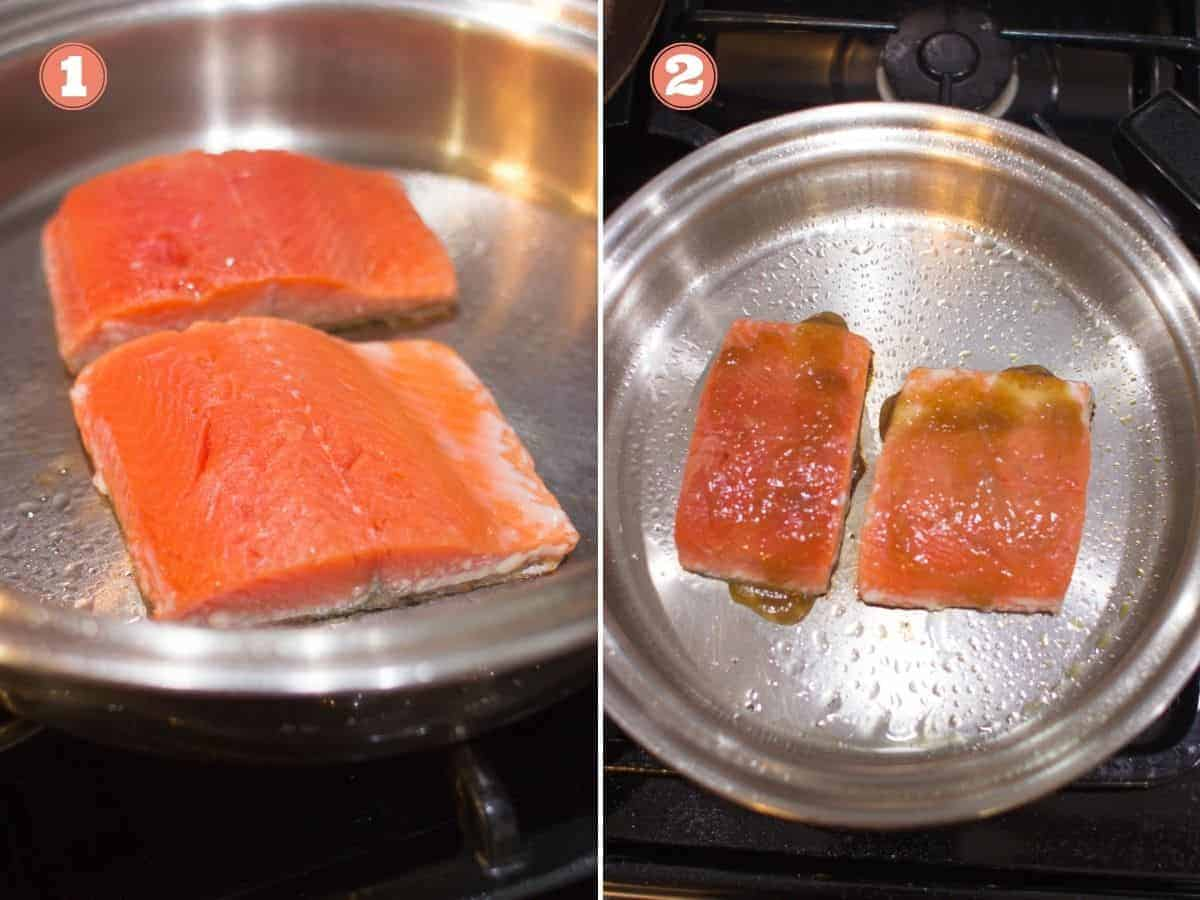 two pieces of salmon in a stainless steel pan on the left and teriyaki sauce drizzled on top on the right picture