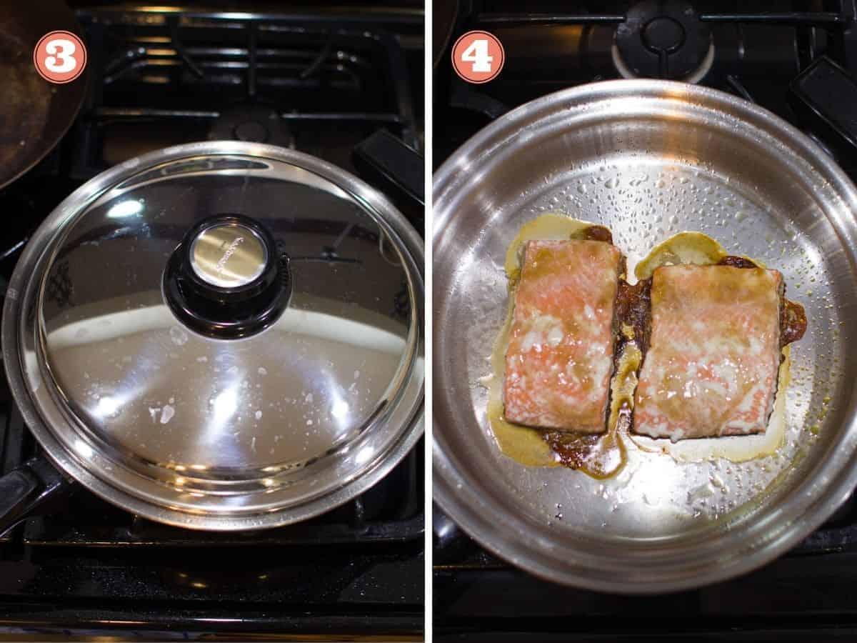 stainless steel pan covered on the left and cooked salmon in the pan on the right