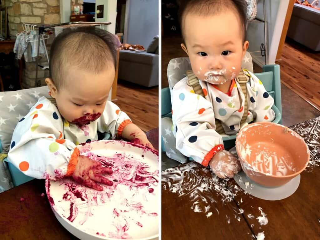 A two image collage with a picture of baby covered in beet hummus on the left and yogurt on the right