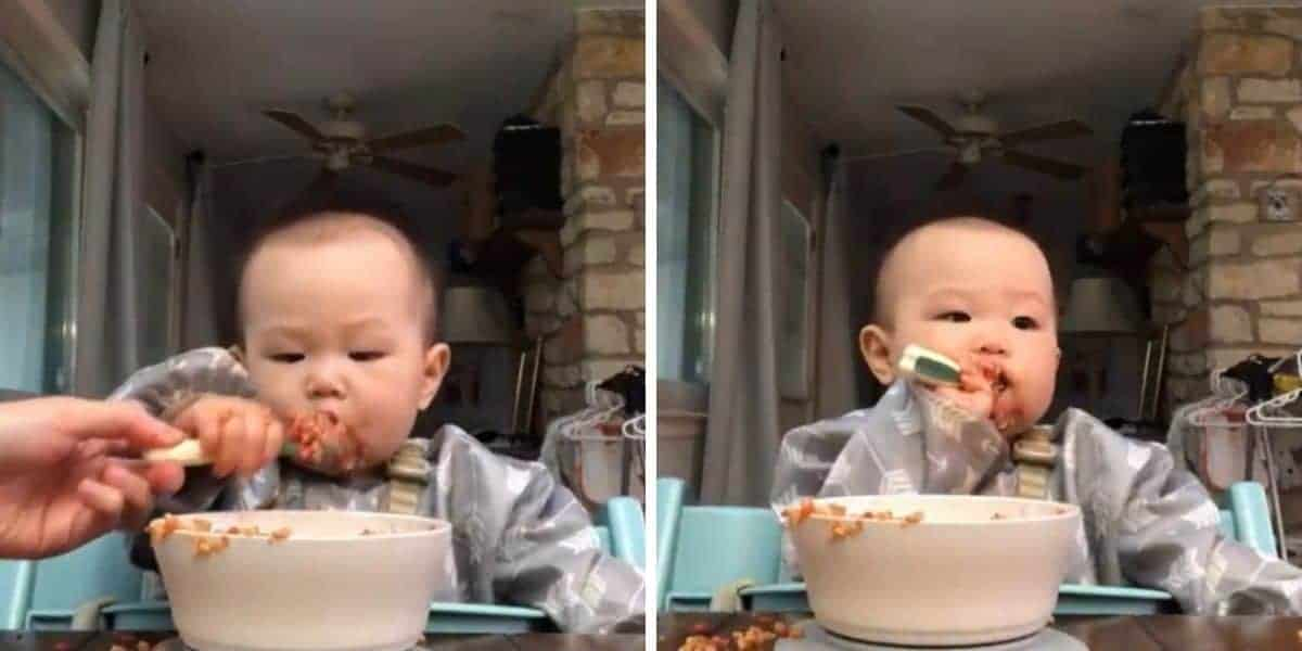 a two image collage with baby in grey full-sleeved bib reaching for the spoon on the left and baby with spoon inside her mouth on the right