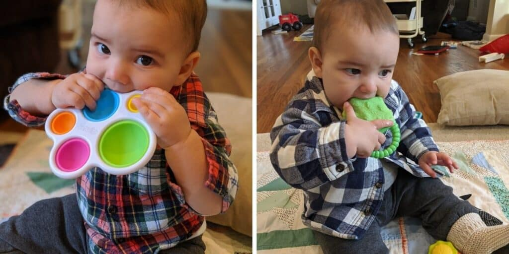a two image collage both showing baby chewing on colorful toys
