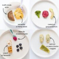 four image collage showing different ways to serve nuts and seeds - hemp seeds sprinkled on top of lentils, avocado coated in hemp seeds, waffle strip with yogurt and sprinkled flaxseeds, and oatmeal finger with peanut butter